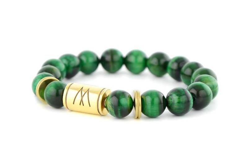 Green Bracelet - Twin Gold Green Tiger Eye