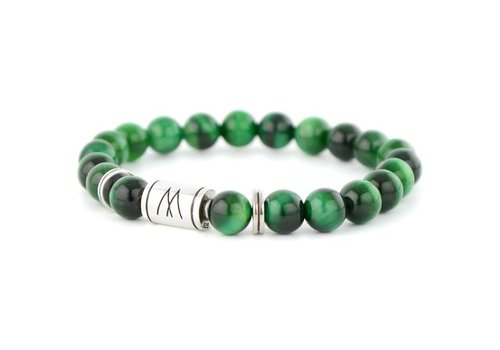 Minimal Green Bracelet - Twin Silver Green Tiger Eye