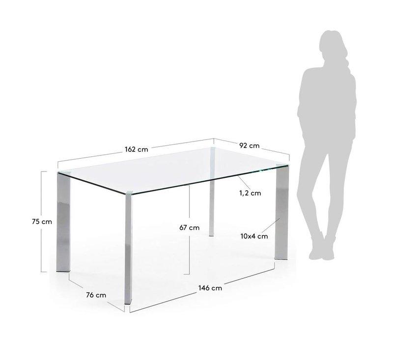 Corner Glazen Eettafel 160 Chroom
