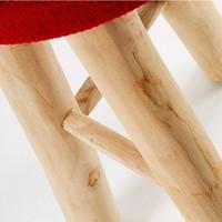 BBOC Barkruk Teak Hout met Rode Zitting