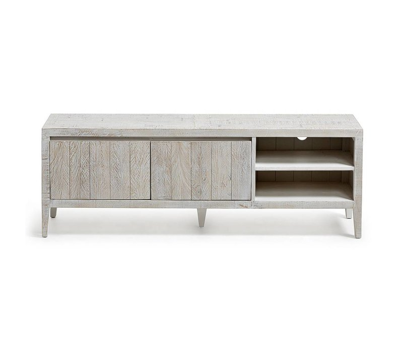 Tv cabinet made in reclaimed pine wood. Finished in hand rubbing water based paint antic white color.