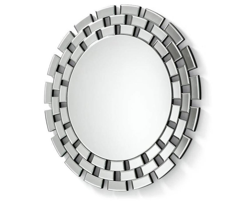 Round mirror with beveled glass frame.