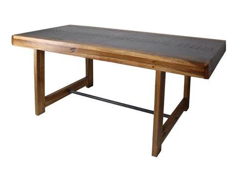 HSM Collection Eettafel Sagmore - 183x95 cm - tea bruin - munggur/suar/ijzer