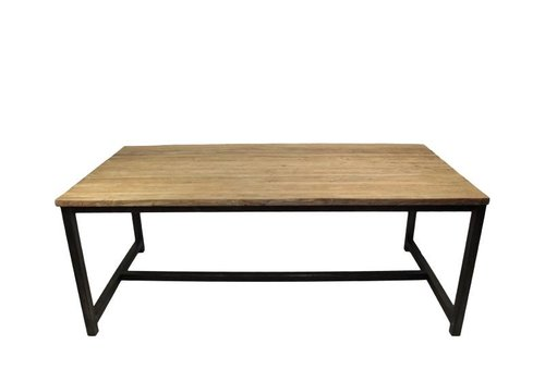 HSM Collection Eettafel - 180x90 cm - blank - teak/ijzer
