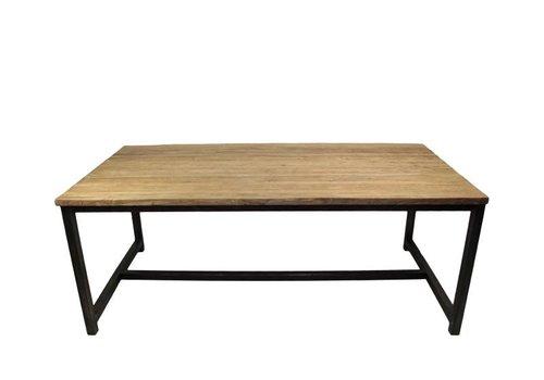 HSM Collection Eettafel - 220x100 cm - blank - teak/ijzer