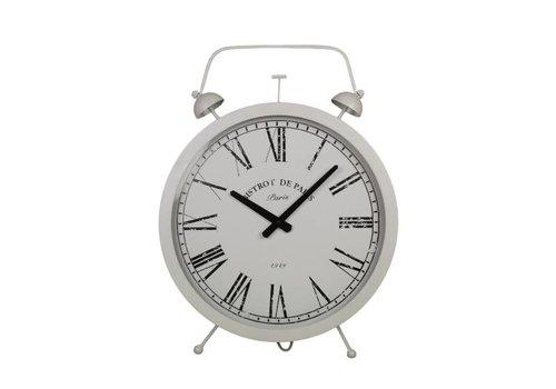 HSM Collection Klok Wekker - wit - ijzer/glas