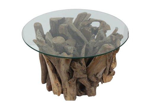 HSM Collection Salontafel rond met glas - teak root - teak