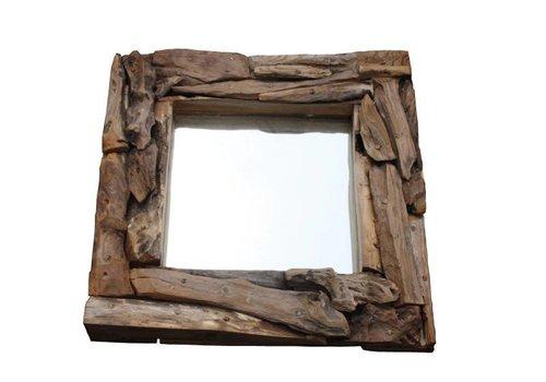 HSM Spiegel - 50x50 cm - blank - root hout/glas