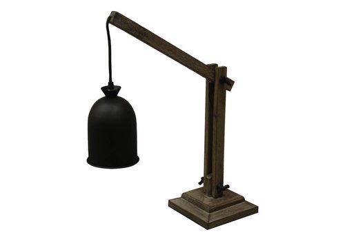 HSM Collection Tafellamp - naturel/zwart - grenen/stof