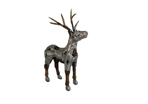 HSM Collection Beeld Hert - naturel wood/aluminium