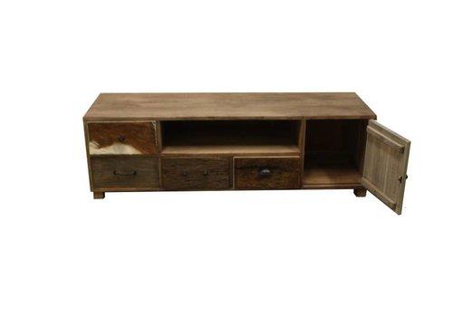 HSM Collection TV-dressoir Texas - bio colour/dark teak - mix hout/dierenhuid