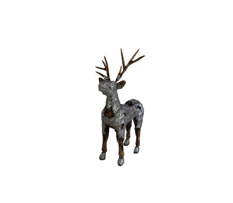 Beeld Hert - naturel wood/aluminium