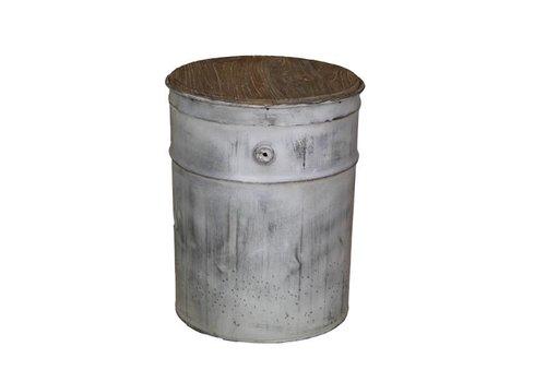 HSM Collection Kruk Tin - staal/oud grijs - ijzer/teak