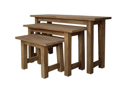 HSM Collection Houten bankjes - blank - teak - s/3