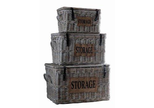 HSM Collection Opbergmand Storage - white wash - koboo - s/3