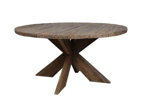 HSM Collection Ronde tafel - 130x130 cm - dinklik erosie - teak