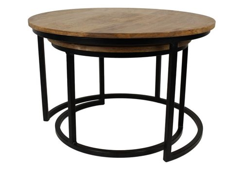HSM Collection Salontafel Ronin - naturel/zwart - mango wood/iron - s/2