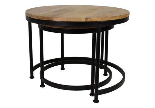 HSM Collection Salontafel Steal large - naturel/zwart - mango wood/iron - s/2
