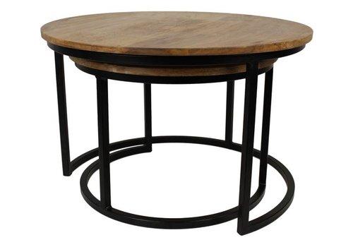 HSM Collection Salontafel Ronin medium - naturel/zwart - mango wood/iron - s/2
