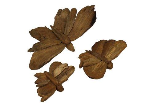 HSM Decoratie vlinders - blank - teak - s/3