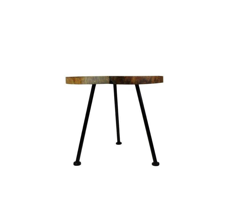 Bijzettafel - black resin - teak/ijzer