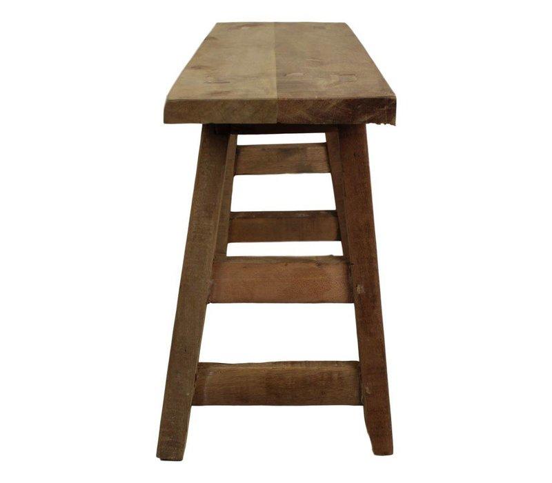 Bankje oud hout - 80 cm - blank - teak