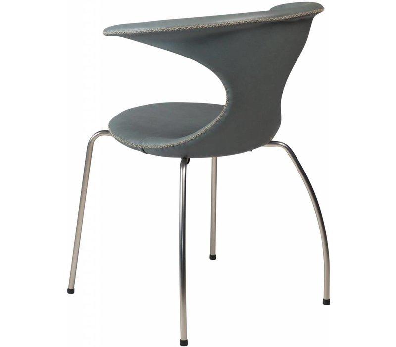 Flair stoel grijs leer met matte poten
