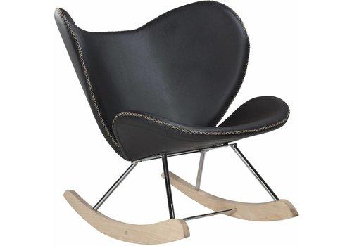 DAN-FORM Butterfly schommelstoel zwart PU leer eiken