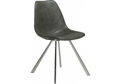 DAN-FORM Pitch stoel vintage groen / RVS