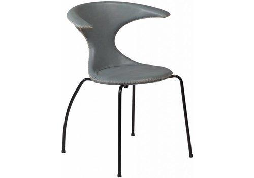 DAN-FORM Flair stoel grijs leer met zwarte poten