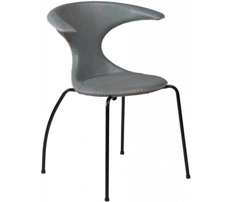 Flair stoel grijs leer met zwarte poten