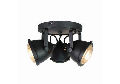 LABEL51 LED Spot Moto 3-Lichts Zwart Metaal