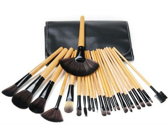 24 delige Wood Professional Makup brush Set
