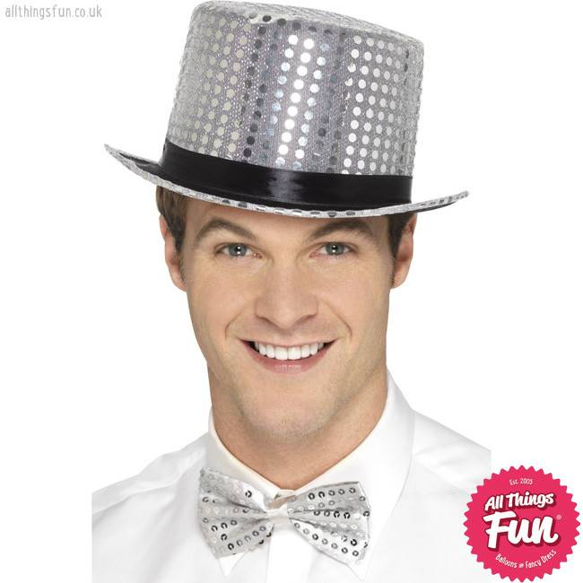 Smiffys Silver Sequin Top Hat