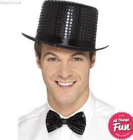 Smiffys Black Sequin Top Hat