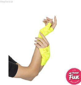 Smiffys 80's Neon Yellow Short Fingerless Lace Gloves