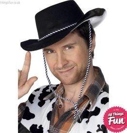 Smiffys Black Flocked Cowboy Hat