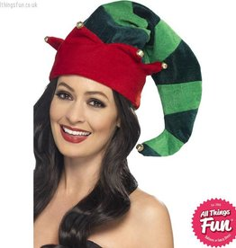 Smiffys Plush Elf Hat with Bells