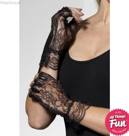 Smiffys Black Fingerless Lace Gloves