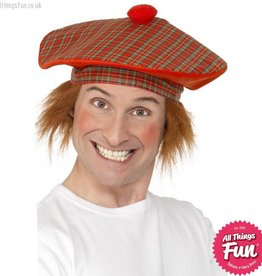 Smiffys Deluxe Red Tam-O-Shanter with Hair