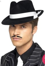 Smiffys Al Capone Black Flocked Hat with White Band