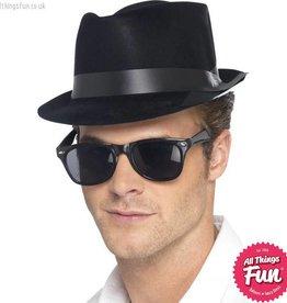 Smiffys Black Flocked Fedora Hat
