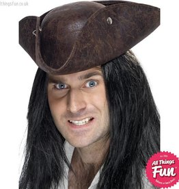 Smiffys Brown Broken Leather Pirate Tricorn Hat