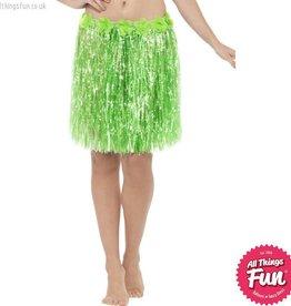 Smiffys Hawaiian Neon Green Hula Skirt with Flowers