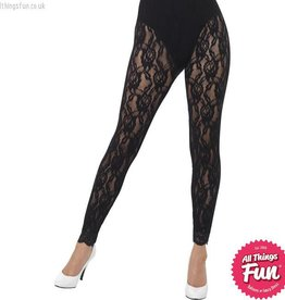 Smiffys 80s Black Lace Leggings