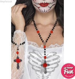 Smiffys Day of the Dead Rosary Bead Set with Necklace & Bracelet