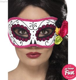 Smiffys Day of the Dead White & Pink Eyemask