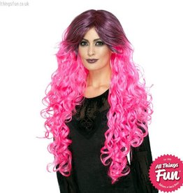 Smiffys Neon Pink Gothic Glamour Wig