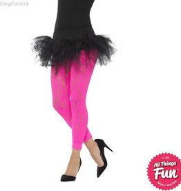 Smiffys 80's Neon Pink Lace Leggings