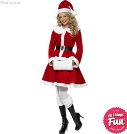 Smiffys Miss Santa Costume with Muff